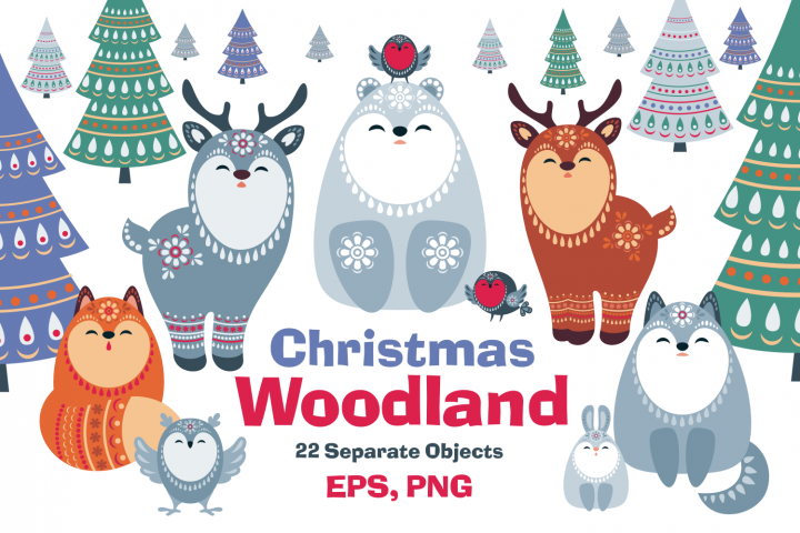 Christmas Woodland. Animals and firtrees in ethnic style