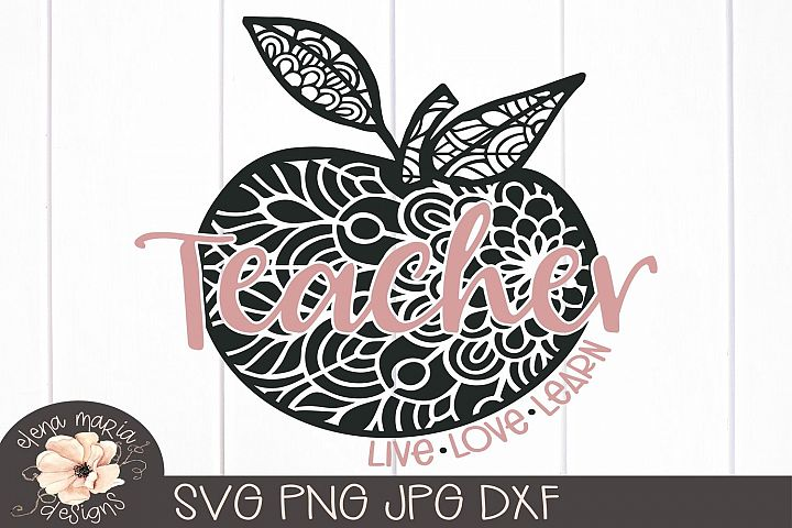 Teacher Mandala Svg | Live Love Learn Svg School Zentangle