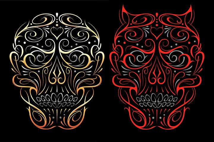 Skull Shape Vector Patterns