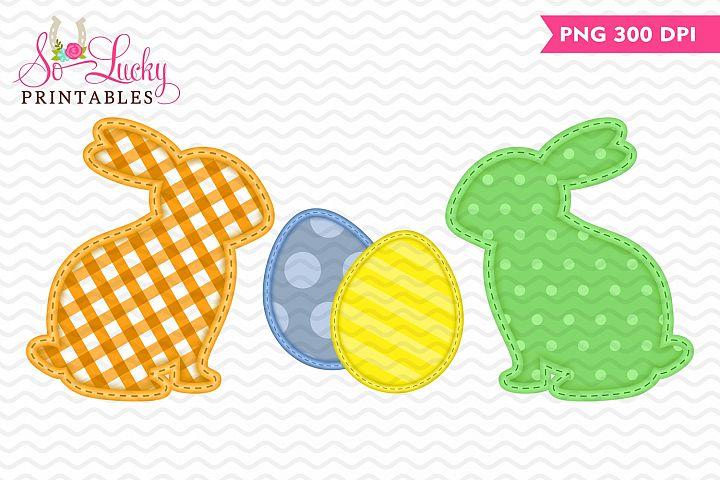 Faux Applique Bunnies and Eggs printable sublimation design
