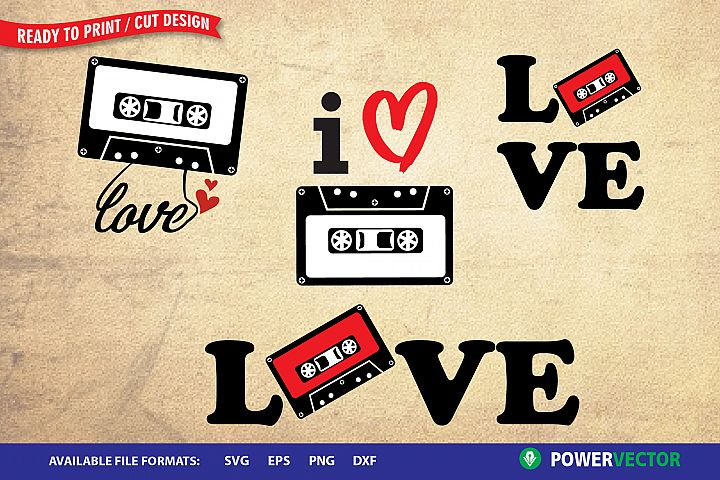 Cassette Tape SVG| Love Retro Music SVg, Dxf, Eps Files