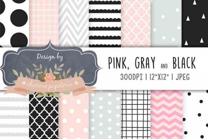 Pink, black and gray geometric digital paper, Baby shower pa