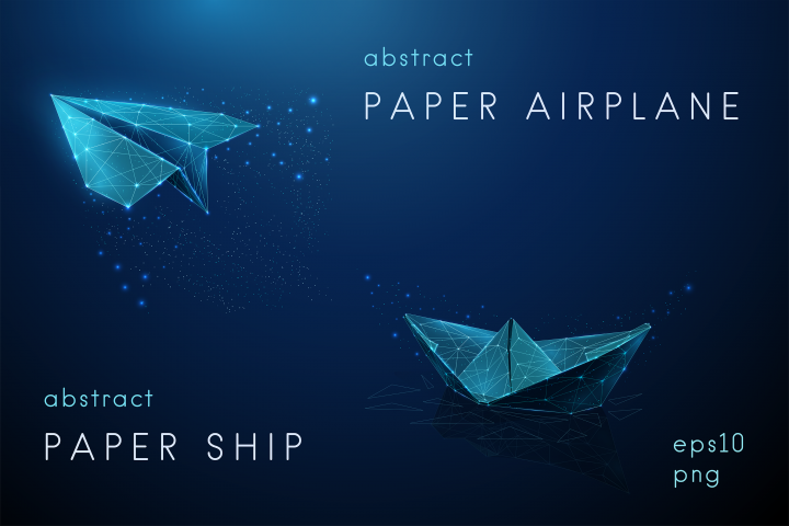 Abstract paper airplane and ship.