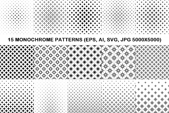 15 monochrome star patterns EPS, AI, SVG, JPG 5000x5000