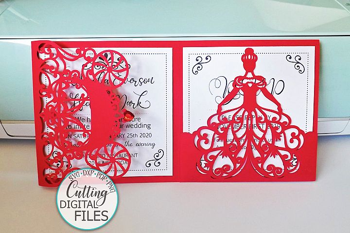 Princess 5x5 trifold envelope wedding invitation laser cut example image 4