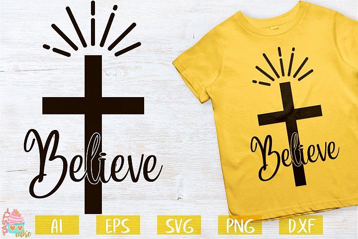 Believe Cross Sign- Easter Designs
