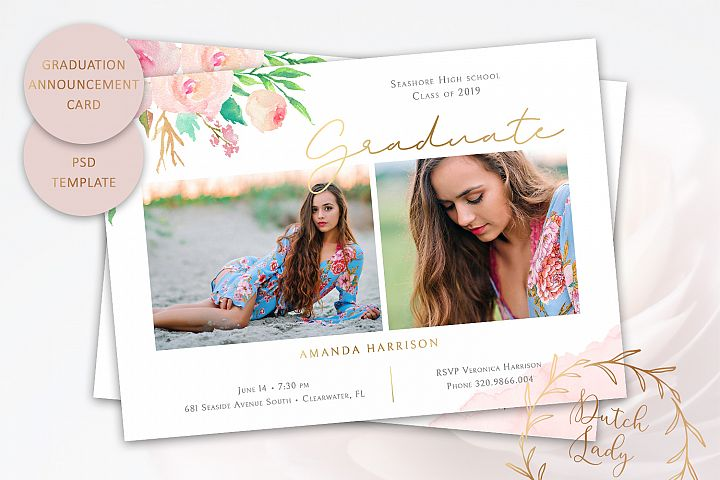 PSD Graduation Announcement Card Template - Design #3
