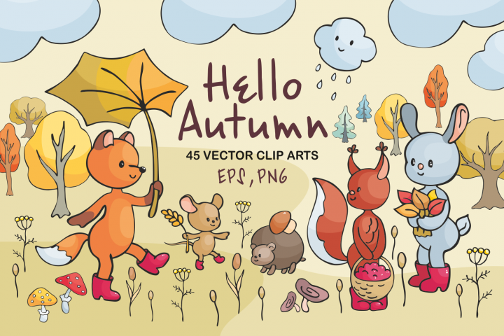 Hello autumn. Forest animals and plants in doodle style.
