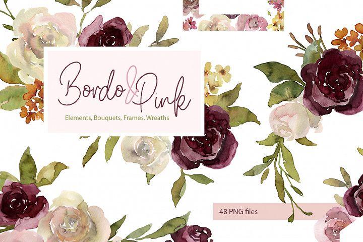Watercolor Pink & Burgundy Flowers, Bouquets, Frames, Wreath