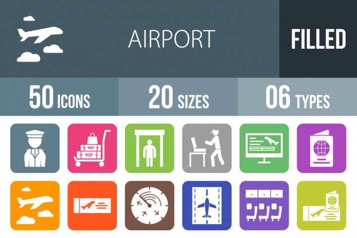 50 Airport Filled Round Corner Icons