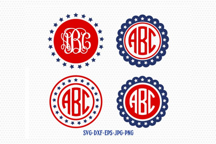 4 of july patriotic circle monogram frames, Fourth of July SVG, 4th of July Svg, America Svg, Cricut Silhouette Cut File svg dxf