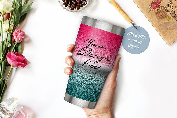 Glitter tumbler mockup, Glitter travel mug mockup, PSD 984-1