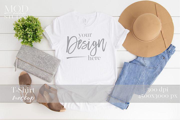 White T Shirt Mockup | 3001 Bella and Canvas Tshirt Mock up