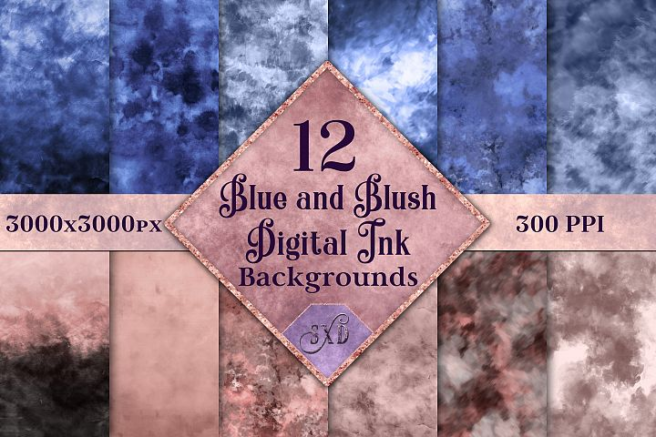 Blue and Blush Digital Ink Backgrounds - 12 Image Textures