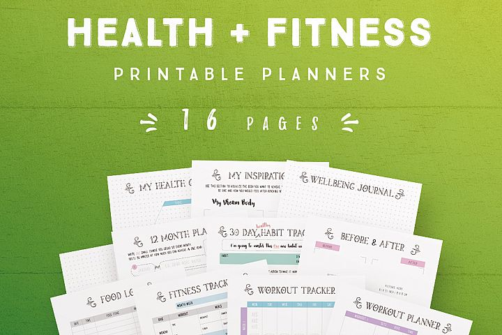 Health and Fitness Printable Planners - 16 Pages