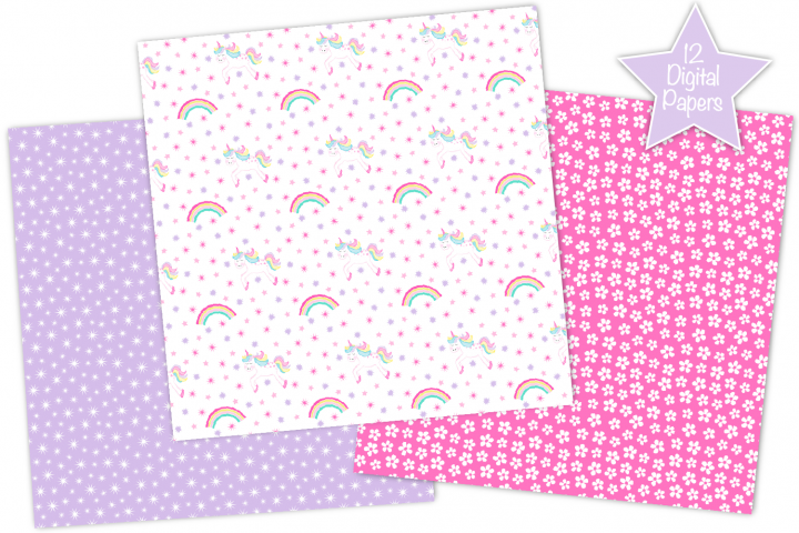 Fairy digital papers, Unicorn digital papers, Fairy patterns - Free Design of The Week Design0