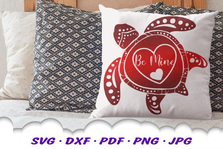 Valentines Sea Turtle Hearts Be Mine SVG DXF Cut Files