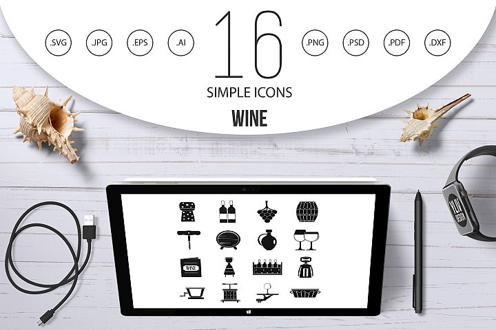 Wine icons set, simple style