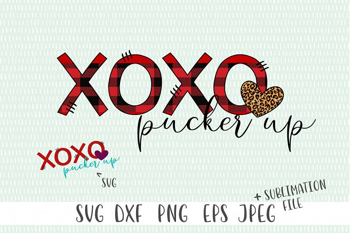 XOXO Pucker Up Valentines Day Sublimation File