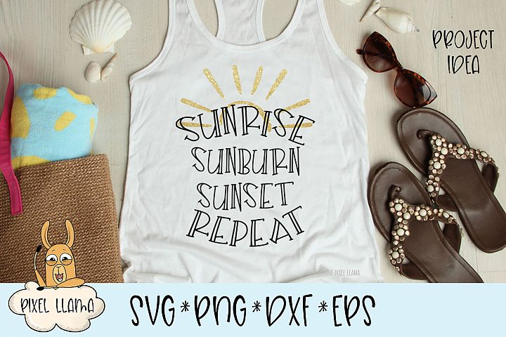 Sunrise Sunburn Sunset Repeat SVG Cut File
