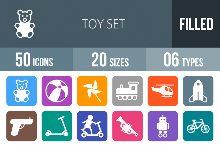 50 Toy Set Filled Round Corner Icons