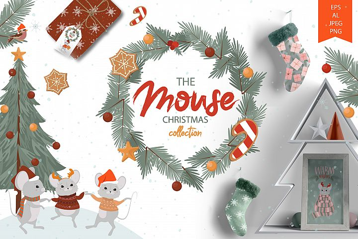 Cute Mouse Christmas illustrations