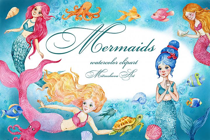 Mermaids. watercolor clipart