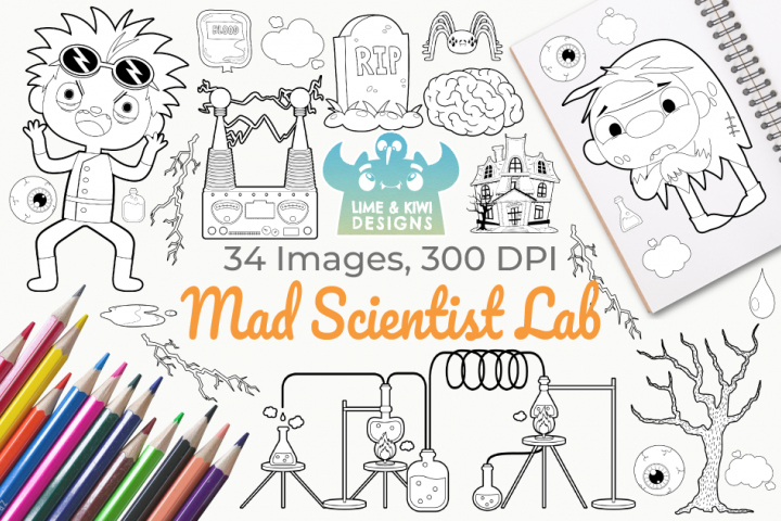 Mad Scientist Lab Digital Stamps
