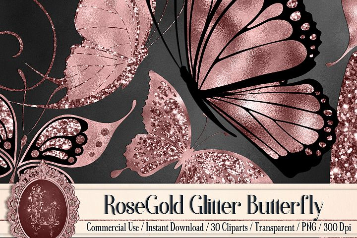 30 RoseGold Glitter Foil Wedding Butterfly Digital Images