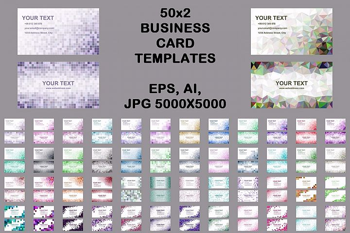 50x2 mosaic design business card templates (EPS, AI, JPG 5000x5000)