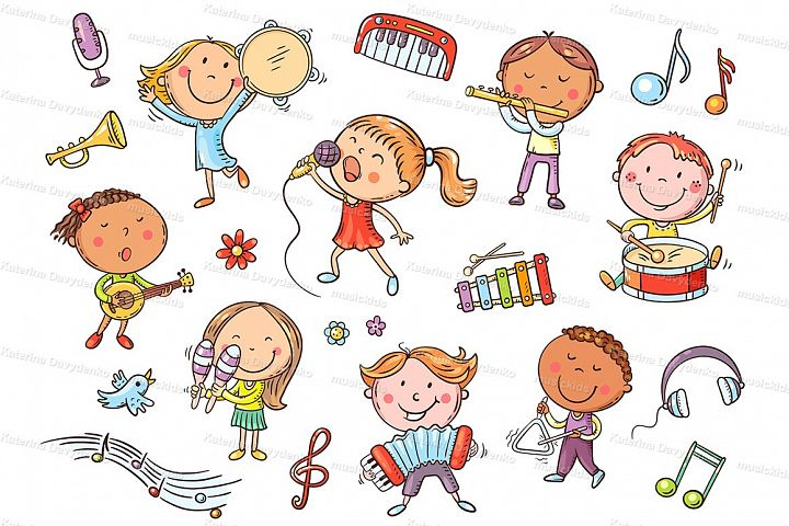 Kids with different musical instruments