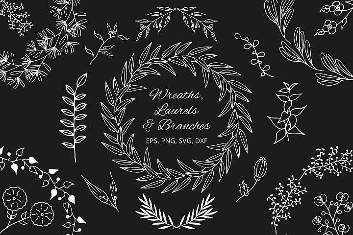 Hand Drawn Wreaths, Laurels and Branches. Floral Collection.