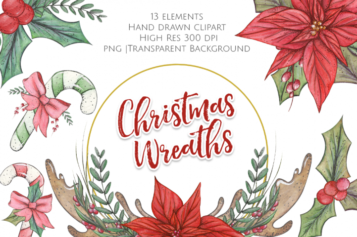 Watercolour Christmas Wreaths and Graphics