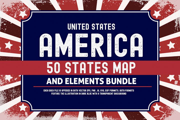 US States 4th July design Element svg