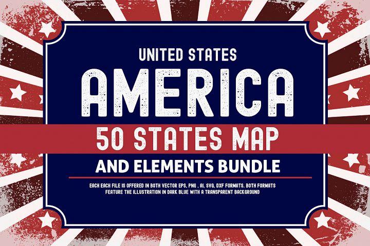 US States 4th July design Element svg