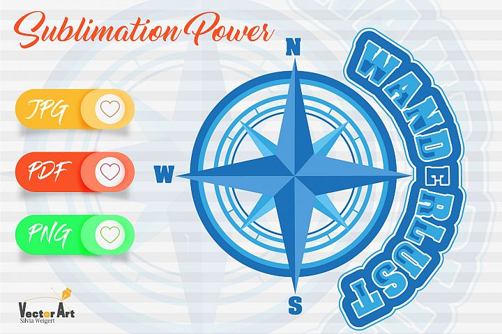 Wanderlust - Compass rose - Sublimation File for Crafter