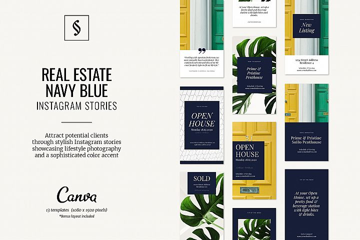 Canva Instagram Stories for Real Estate - Navy Blue