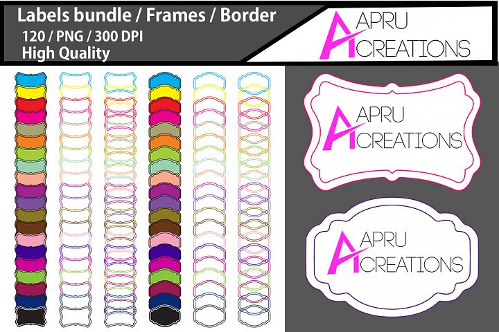 Empty Labels and Frames / 120 blank labels bundle