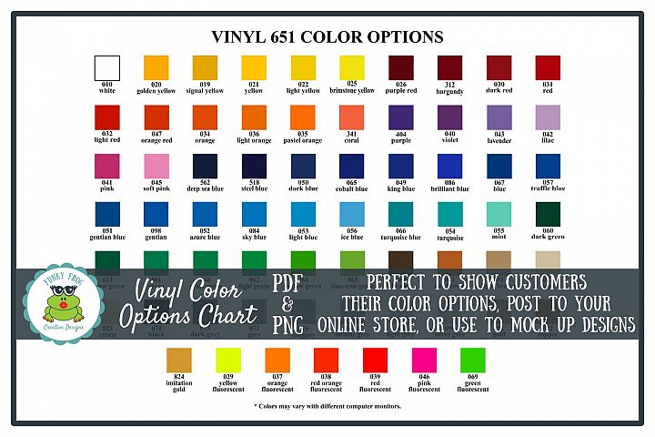 Oracal 651 Vinyl Color Options Chart