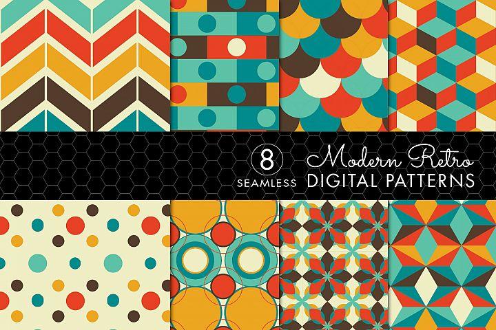 8 Modern Retro Patterns - Brown, Orange & Turquoise- Set 1