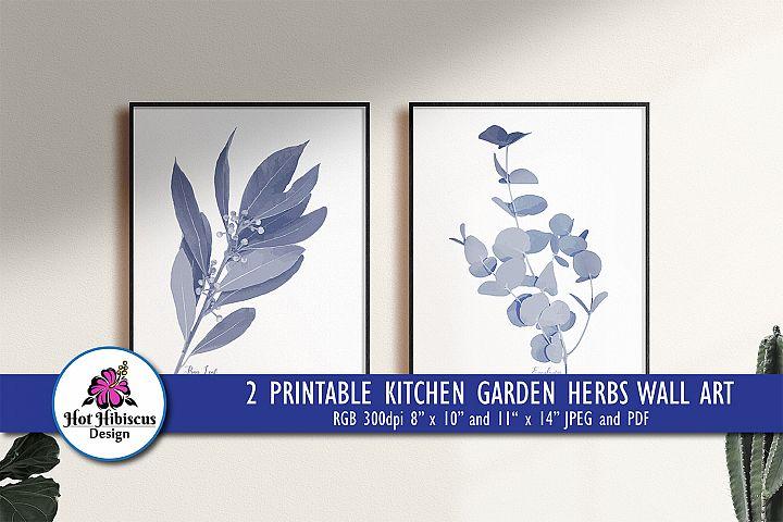 Pretty Indigo Blue Printable Kitchen Garden Herbs Art Prints