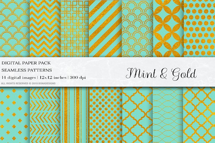 Mint Gold Digital Papers, Gold Seamless Pattern, Mint