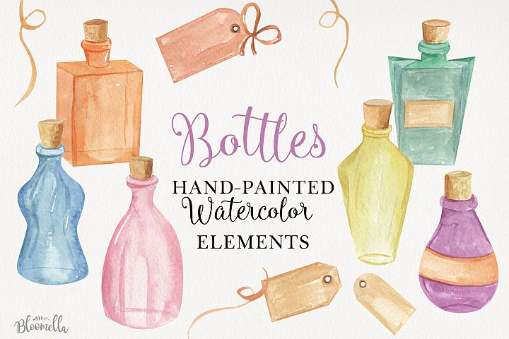 Bottles & Tags Watercolor 13 Elements Labels Ribbons Potions