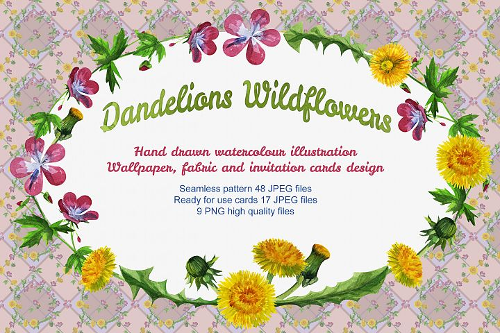 Watercolour wildflowers seamless pattern background