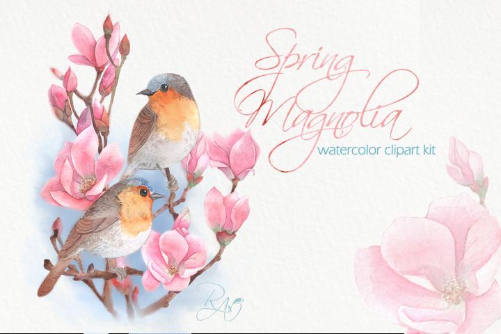 Watercolor birds on magnolia clipart