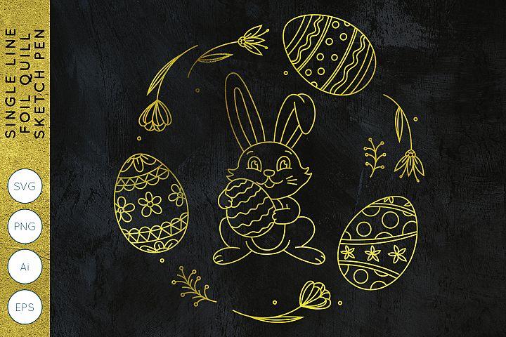 Easter Bunny Wreath | Single Line | Foil Quill | Sketch Pen
