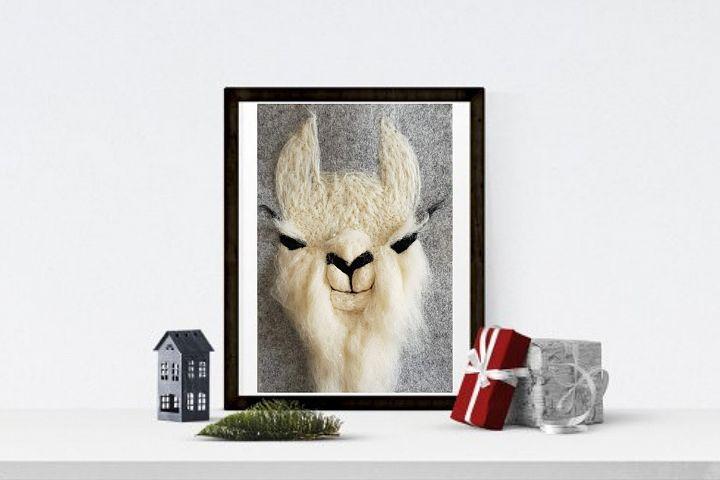 Cutest Llama Print Wall Art of my original felt painting