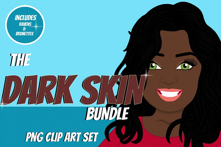 Dark Skin Woman Clip Art Bundle   Female Avatar   Graphic