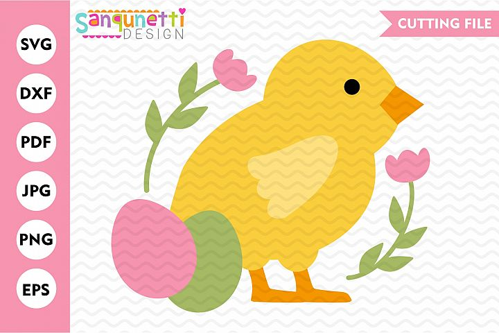 Chick with flowers SVG, Spring Easter cutting file