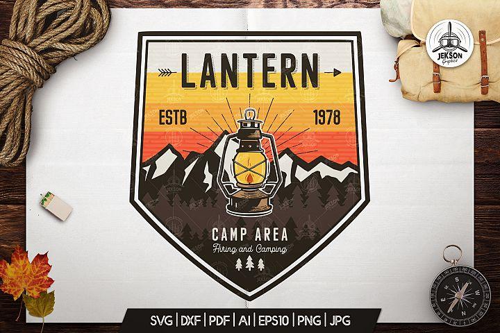 Camp Lantern Badge / Vintage Travel Logo Patch / Hiking SVG
